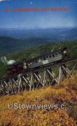 Cog Train, Mt Washington - White Mountains, New Hampshire NH Postcard