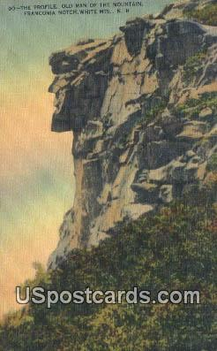 Old Man of the Mountains - White Mountains, New Hampshire NH Postcard