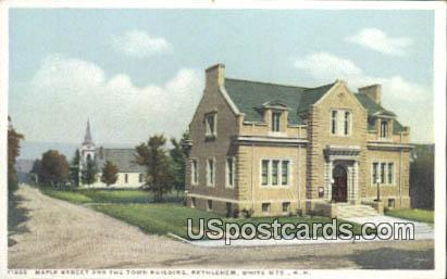Maple Street, Town Building - White Mountains, New Hampshire NH Postcard