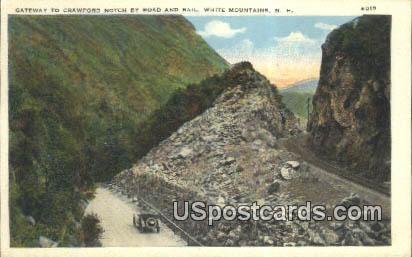 Gateway to Crawford Notch, Road & Rail - White Mountains, New Hampshire NH Postcard