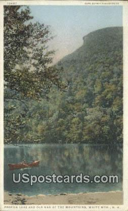 Profile Lake, Old Man of the Mountain - White Mountains, New Hampshire NH Postcard