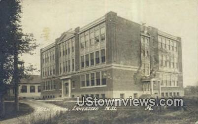 Real Photo - High School, Lancaster - New Hampshire NH Postcard