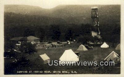 Real Photo - Camping, Indian Head - White Mountains, New Hampshire NH Postcard