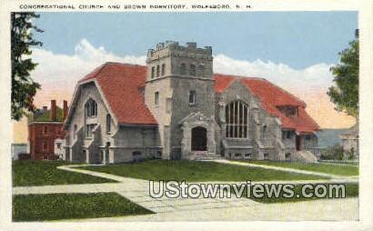 Congregational Church & Brown Dorm - Wolfeboro, New Hampshire NH Postcard