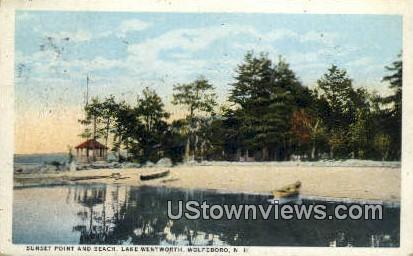Sunset Point & Beach, Lake Wentworth - Wolfeboro, New Hampshire NH Postcard