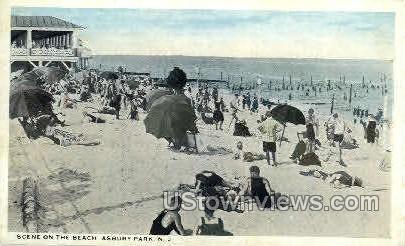 The Beach - Asbury Park, New Jersey NJ Postcard