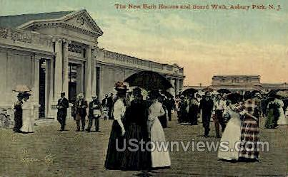 New Bath Houses & Board Walk - Asbury Park, New Jersey NJ Postcard