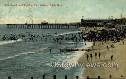 Beach & Fishing Pier - Asbury Park, New Jersey NJ Postcard