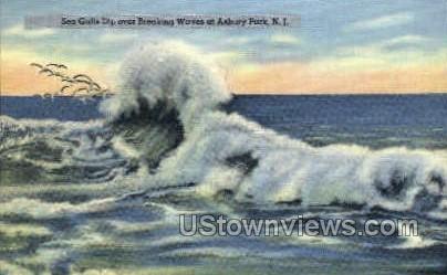 Sea Gulls - Asbury Park, New Jersey NJ Postcard