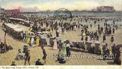 Beach from Young's Pier - Atlantic City, New Jersey NJ Postcard