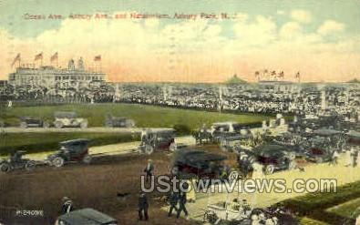Asbury Ave & Natatorium - Asbury Park, New Jersey NJ Postcard