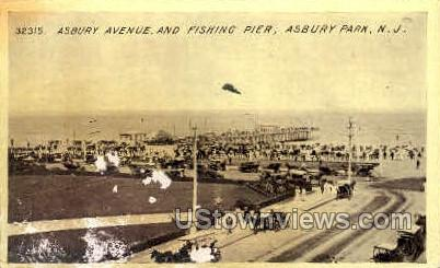 Asbury Ave, Fishing Pier - Asbury Park, New Jersey NJ Postcard