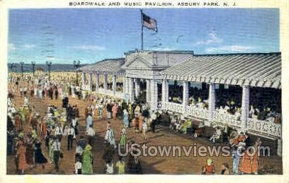 Boardwalk & Music Pavilion - Asbury Park, New Jersey NJ Postcard