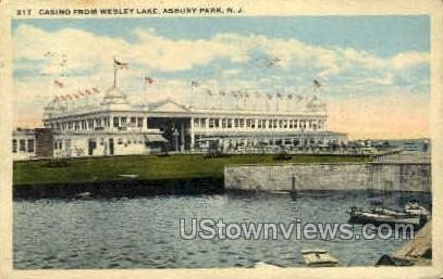 Casino, Wesley Lake - Asbury Park, New Jersey NJ Postcard
