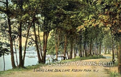 Lovers Lane, Deal Lake - Asbury Park, New Jersey NJ Postcard