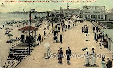 Boardwalk, Bath Houses - Asbury Park, New Jersey NJ Postcard