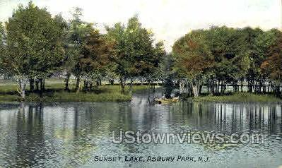 Sunset Lake - Asbury Park, New Jersey NJ Postcard
