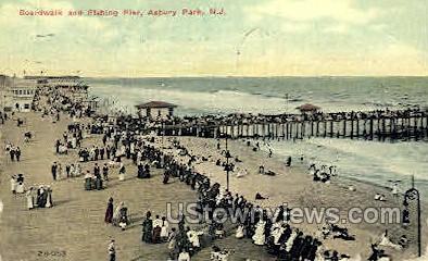Boardwalk & Fishing Pier - Asbury Park, New Jersey NJ Postcard