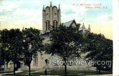 First Methodist Church - Asbury Park, New Jersey NJ Postcard