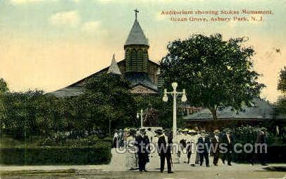 Auditorium, Stokes Monument - Asbury Park, New Jersey NJ Postcard