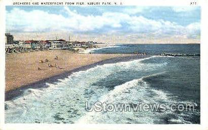 Breakers & Waterfront, Pier - Asbury Park, New Jersey NJ Postcard