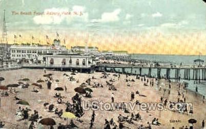 Beach Front - Asbury Park, New Jersey NJ Postcard