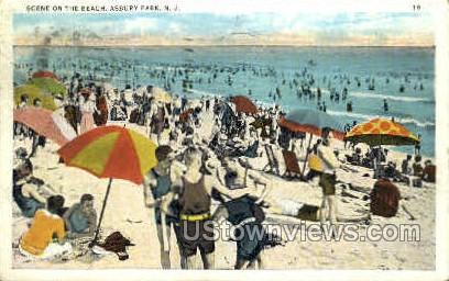 Beach - Asbury Park, New Jersey NJ Postcard