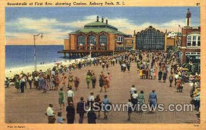 Boardwalk, First Ave, Casino - Asbury Park, New Jersey NJ Postcard