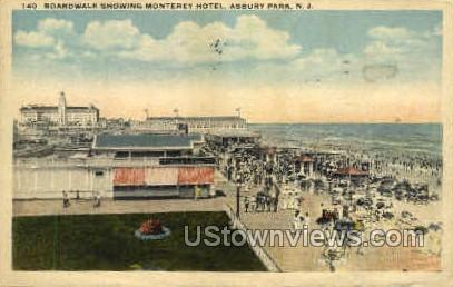 Boardwalk, Monterey Hotel - Asbury Park, New Jersey NJ Postcard
