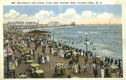 Boardwalk, Alamac Pier - Atlantic City, New Jersey NJ Postcard