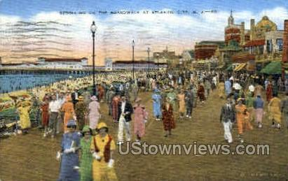 Boardwalk - Atlantic City, New Jersey NJ Postcard