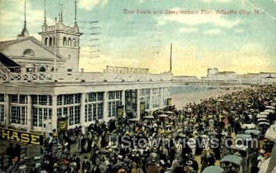 Boardwalk, Steeplechase Pier - Atlantic City, New Jersey NJ Postcard