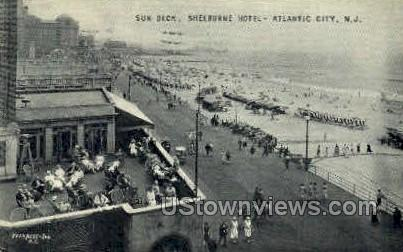 Sun Deck, Shelburne Hotel - Atlantic City, New Jersey NJ Postcard