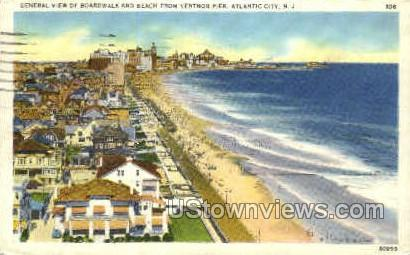 Boardwalk, Ventnor Pier - Atlantic City, New Jersey NJ Postcard