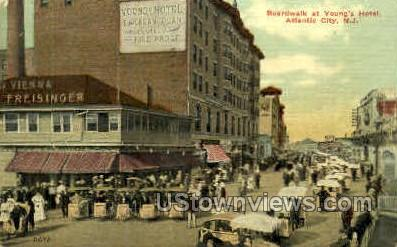 Boardwalk, Youn's Hotel - Atlantic City, New Jersey NJ Postcard