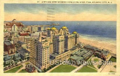 Hotels, Steel Pier - Atlantic City, New Jersey NJ Postcard