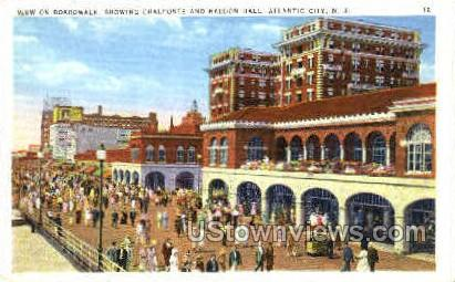 Boardwalk, Chalfonte & Haddon Hall - Atlantic City, New Jersey NJ Postcard
