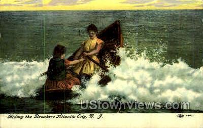 Riding the Breakers - Atlantic City, New Jersey NJ Postcard