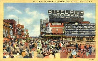 Boardwalk, Steel Pier - Atlantic City, New Jersey NJ Postcard
