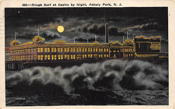 Rough Surf at Casino by Night Asbury Park, New Jersey Postcard