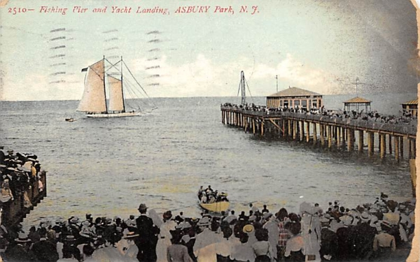 Fishing Pier and Yacht Landing Asbury Park, New Jersey Postcard