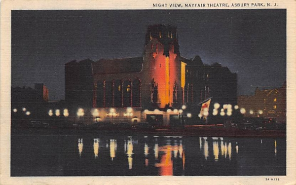 Night View, Mayfair Theatre Asbury Park, New Jersey Postcard