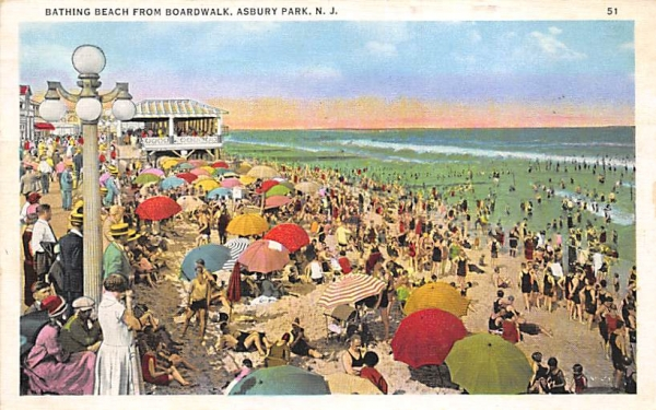 Bathing Beach from Boardwalk Asbury Park, New Jersey Postcard