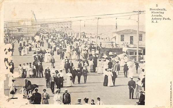 Boardwalk, showing Arcade Asbury Park, New Jersey Postcard