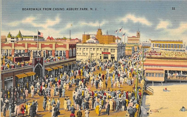 Broadwalk From Casino Asbury Park, New Jersey Postcard