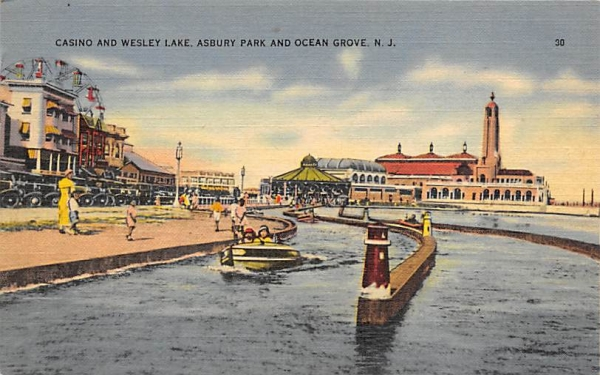 Casino and Wesley Lake Asbury Park, New Jersey Postcard