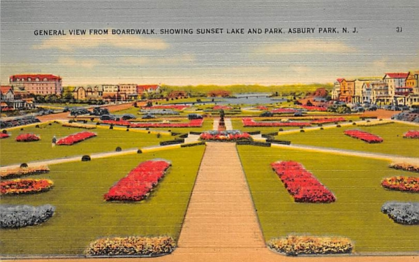 General View from Broadwalk Asbury Park, New Jersey Postcard