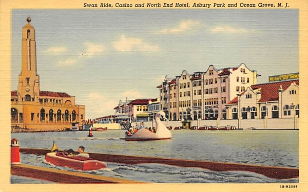 Swan Ride, Casino and North End Hotel Asbury Park, New Jersey Postcard