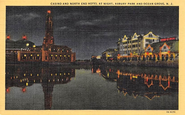 Casino and North End Hotel at Night Asbury Park, New Jersey Postcard