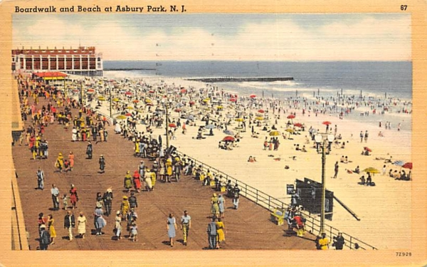 Boardwalk and Beach Asbury Park, New Jersey Postcard